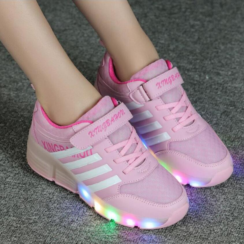 13 colors Children wheel LED light kids Roller Skate shoes single wheel boys girls Brand shoes lighting sneakers Eur size 28-40<br><br>Aliexpress