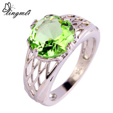 lingmei $0.99 Big Promotion Fashion Jewelry Wholesale Round Cut Green Purple Silver Ring Size 6 7 8 9 10 11 12 Women's Chic Gift(China)