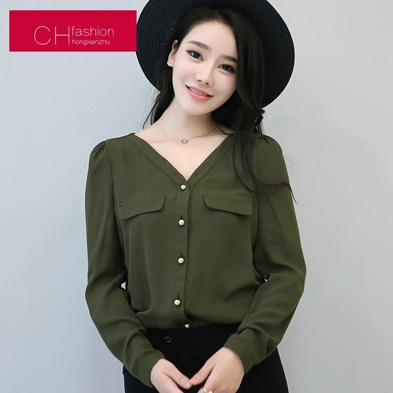 2017 blouse shirt woman caual chiffon pocket v-nec...