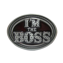 Fashion girls mens clothing i'm boss cowboy buckle belt tool diy accessories top letters metal belt buckles free shipping