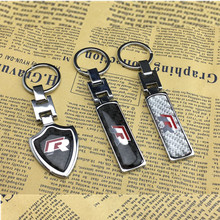1pcs R Rline R Line Logo Car Key Holder Metal Keychain Key Rings Keyrings For Volkswagen VW Passat Tiguan Bora Golf Jetta Polo