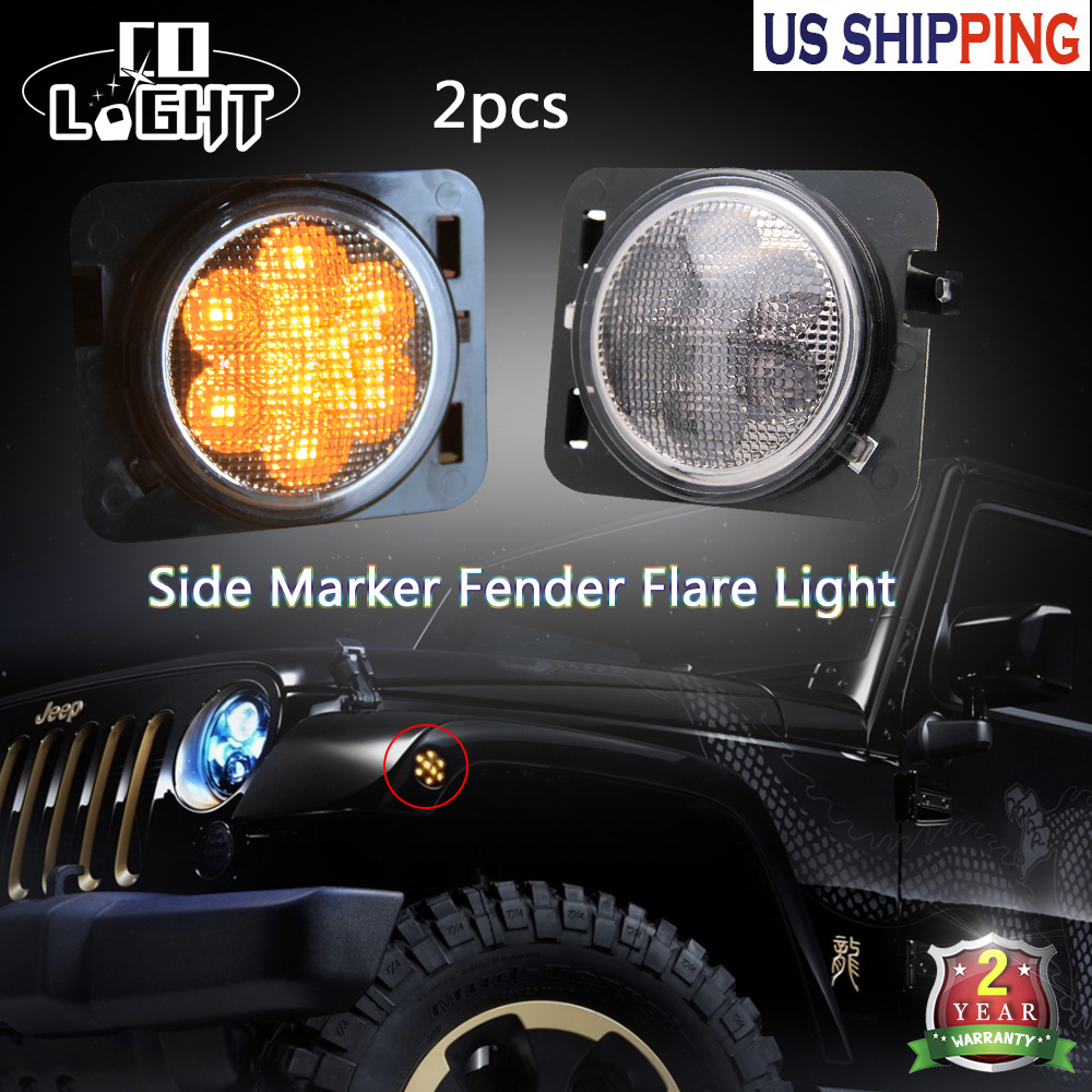 CO LIGHT One Pair 8 Leds Rear Lights Turn Signal Warning Racer Lights Lamps 3000K DC 12V For 4X4 Off Road Jeep Wrangler Jk<br>