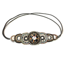 Metting Joura New Ethnic Metal Beads Elastic Head Band Handmade Floral Hair Bands For Women Hair Accessories
