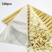 100pcs Cone Clear Sweet Chocolate Candy Cupcake Wrapper Birthday Party Favor Gifts Display Cellophane Cello Bags Decoration(China)
