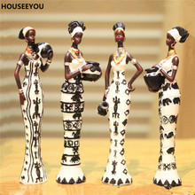 Africa Figurines Miniatures Ornaments Resin Girl Model Unique Home Decor Accessories Living Room Decoration Crafts Furnishing