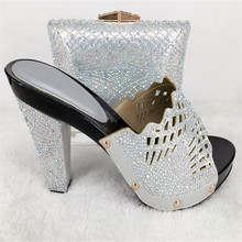 TYS17-17 Silver 2017 New Arrival African Woman Sandals Shoes And Bag Rhinestone Fashion Italian Shoes And Bag Set Free Shipping