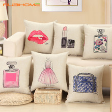 Fashion red lips cushion without inner lipstick perfume bottle home sofa decorative pillow  car seat  capa de almofada cojines