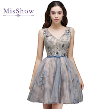 Modest girls dresses Homecoming Dresses 2018 Cheap Summer a line Beading cocktail party dress Short Mini Tulle homecoming dress(China)