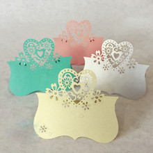 50 pcs Love Heart Laser Cut Place Cards Wedding Party supplies Table Guest Name 9 * 10CM Wedding Party Table decoration(China)