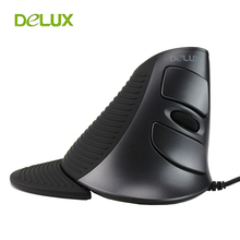 Delux M618 PC Computer Wired Vertical Mouse Ergonomic Mause USB 1600 DPI Optical 6 Button Upright Healthy Mice for PC Laptop(China)