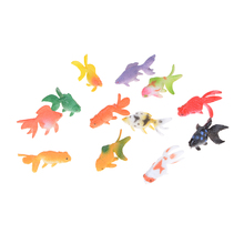 HOT 12pcs/lot Goldfish TOYS Simulated Ocean Animals Kids Party Gift Plastic Gold Fish Figures Model 3-4cm