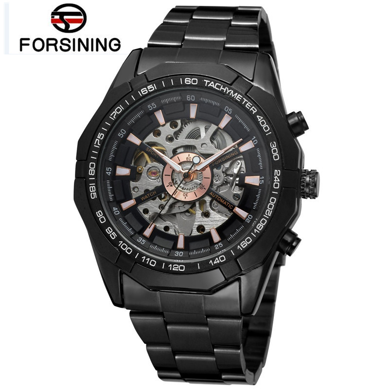 2017 FORSINING Top Brand Man Watches Mens Black Skeleton Auto Mechanical Watch Wristwatch  Gift Free Ship<br>