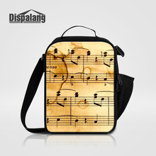 Dispalang girls fashion lunch cooler bags new portable school lunchbox for students cute musical note custom lunch bag for women