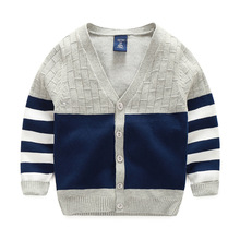 New Boy Sweaters Striped Cotton Top Warm Sweater For Boys Knitting Kids Clothes Knit Cardigan Children Spring Autumn Infant Tee