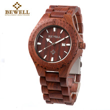 BEWELL Luxury Red Wood Watch Men Top Brand Watch Male Chronograph Waterproof Watch Analog Display Dropshipping Quartz Watch 023A(China)