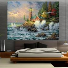 Lighthouse sea house woods Seascape Mediterranean Oil painting Unframed Frameless Canvas Spray wax wire action