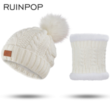 RUINPOP 2 Pieces Set New Winter Hat And Scarf For Women Winter Scarf Cotton Female Winter Hat Casual Solid Color Hat And Scarf(China)