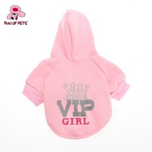 2017 Vip Girl Style Fleeces Hoodies for Dogs(Pink,XS-L) Dog Clothes Fashion Dog Hoodies Clothing(China)