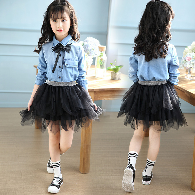 Girl Shirt Long Sleeve Cowboy Spring Foreign Trade Childrens Garment Korean Trend Kids Clothing<br>