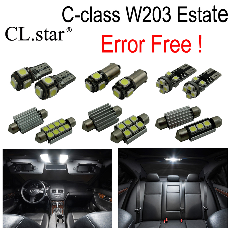 18pcs LED bulb interior dome light Kit For Mercedes For Mercedes-Benz C class S203 Estate Wagon C180 C200 C220 C270 C350 C30 AMG<br>