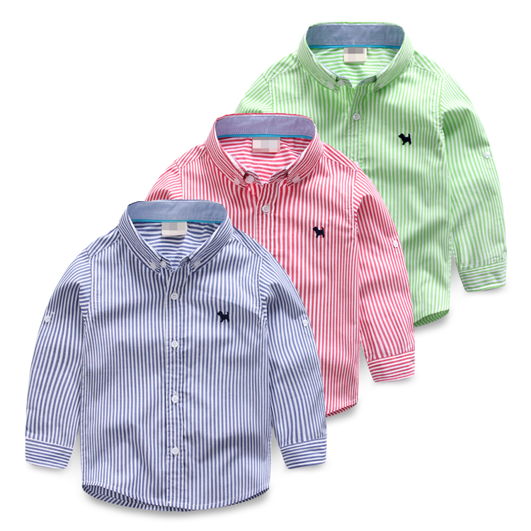 Male child 100% cotton shirt embroidery stripe baby long-sleeve shirt childrens clothing 2017 spring and autumn child casual<br><br>Aliexpress