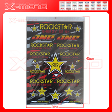 Rockstar motocross scooter available diri bike 30*45cm decals wholesale Cheap motorcycle Helmet stickers free(China)