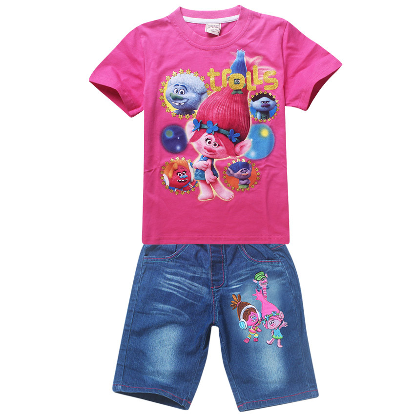 fashion kids clothing set Childrens Sets T-shirts+shorts girls 2pcs suit jeans+tops cartoon printed girl clothes suits K021602<br><br>Aliexpress
