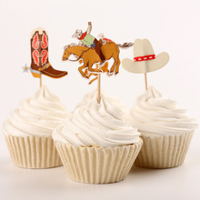 24pcs/Set Cowboy Cupcake Toppers Cowboy Boots Hat Cupcake Picks Kids Birthday Cake Accessory Party Decoration Party Supplies