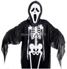 Free Shipping! Child & Adult Halloween Skeleton Costume Supplies Clothes Suit Masquerade Dance Skull Ghost Costume no mask