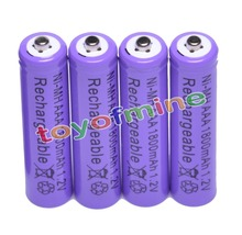 4x AAA 1800mAh 3A 1.2 V Ni-MH Purple Rechargeable Battery Cell for MP3 RC Toys