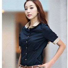 Korean Fashion Women Shirt OL Office Color Patchwork High Quality Blouse Short Sleeves Slim Blue Clothing Big Size S-XXL