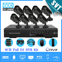 NVR 8CH IR day night Outdoor Waterproof Surveillance CCTV Camera Kit Home Security 8 channel full D1 DVR Recorder System SNV-54