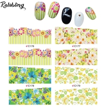 Various Types And Different Forms Partial Green Series Flowers Water Transfer Nail Sticker Nail Accessories Corrugated Paper(China)