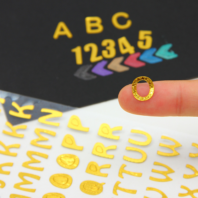 2pcs/ LOt DIY hand account diary stickers bronzing English alphanumeric stickers develop children intellectual alphabet stickers