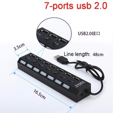 High Speed 7 ports 2.0 USB Hub Micro Multi With Power Splitter Light tablet puertos agestar Switch hab For Computer Laptop