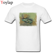 Fashion Blue Tops Men T Shirt Cotton Tees Retro Sea Turtle Printed Unfading Fabric Crew Neck Summer/Fall Short Sleeve Clothing(China)