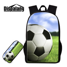 Dispalang Football Printing Backpacks For Men Women 2 PCS/Set School Bags with Pencil Bags for Teenage Boys Book Bag Pencil Case