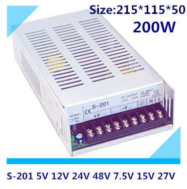 LED switching power supply S-201,200W single output,AC input, output voltage 5V,12V.15V,24V.. without dial switch<br>