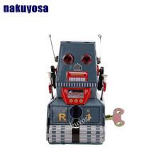 Classic collection Retro Clockwork Wind up Metal Walking Tin Tank moon probe robot recall Mechanical toy kids christmas gift(China)