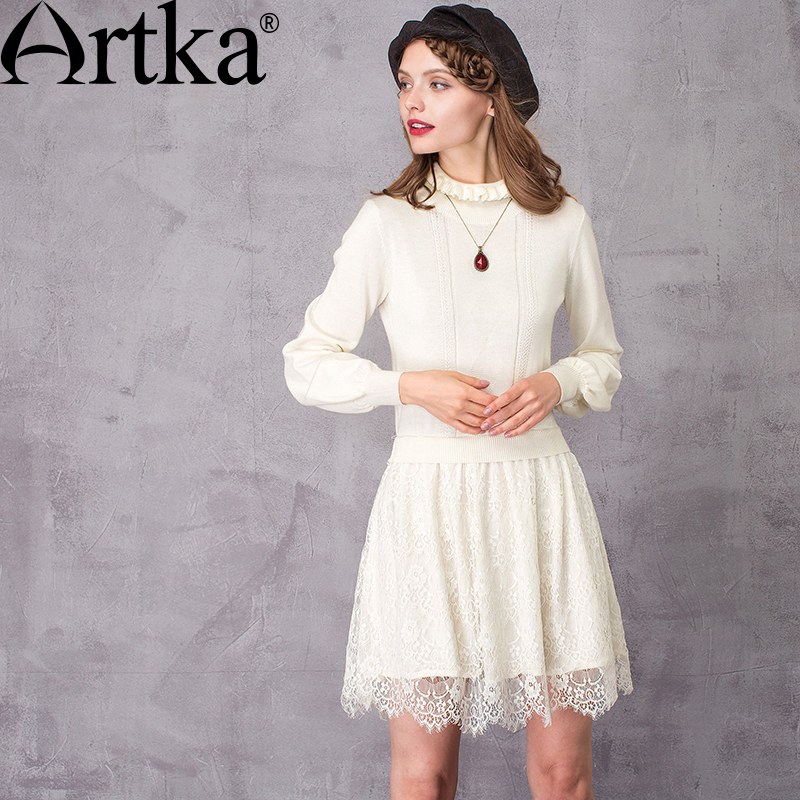 Artka Women's Autumn New 2 Colors Lace Patchwork Knitted Dress Vintage Turtleneck Lantern Sleeve A-Line Dress LB10869Q