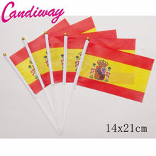 14x21cm  10pcs The Spanish flag hand waving flags with Plastic Flagpoles Activity parade Sports Home Decoration   NC013