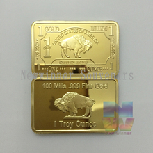 Buffalo Gold Bullion United States of America 1 trony ounce Bar 100 mills plated gold 1 OZ Coin bar