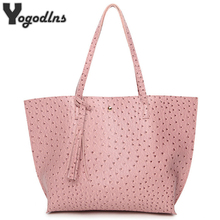 New Design Ostrich Pattern Women Bag Luxury Tote Bags Female PU Leather Fashion Holder Handbags Tassel Shoulder Bags(China)
