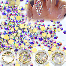 SWEET TREND New 120 Pcs/Box Shining 3D Beauty Rhinestions Gold AB Nail Art Decoration Crystal DIY Sparkly Nail Tools LANJ245