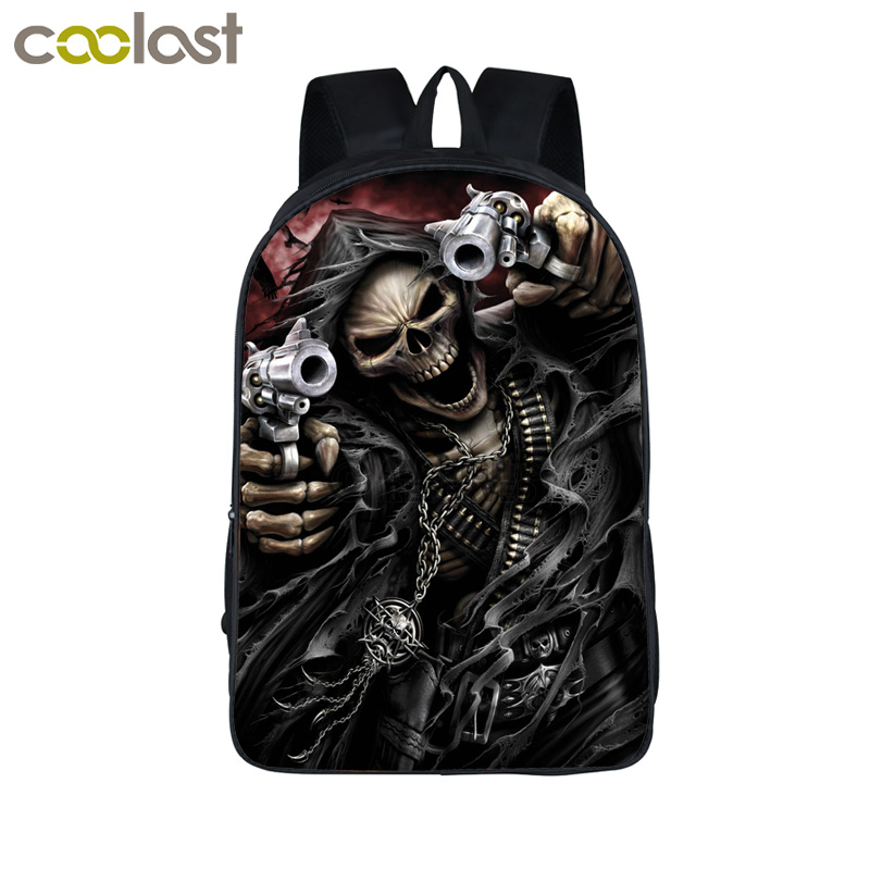 Cool Skull Reaper Backpack For Teenage Boys Children School Bags Rock Backpacks Women Men Hip Hop Backpack kids Book Bag(China (Mainland))