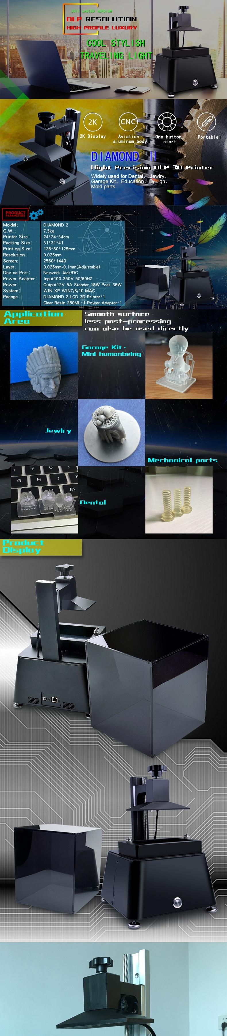 high precision original dlp sla lcd 3d printer for dental and jewlry with raspberry pi3 250ml uv resin free casting wax resin