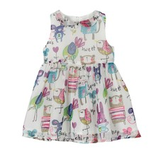 New European Fashion Style Girls Chiffon Dresses Summer Girls Dress Clothes Hand Painted Doll Collar Kids Princess Dress