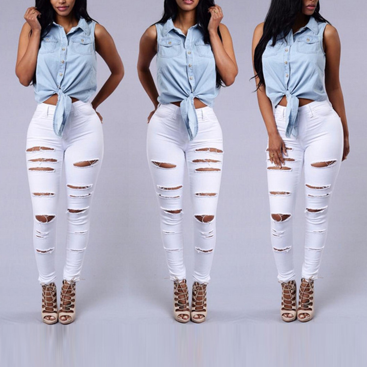 New Designer Denim Women 2017 High Waist Ripped Jeans for Women Skinny Black White Jeans Woman Elastic Slim Jean Female Femme Одежда и ак�е��уары<br><br><br>Aliexpress