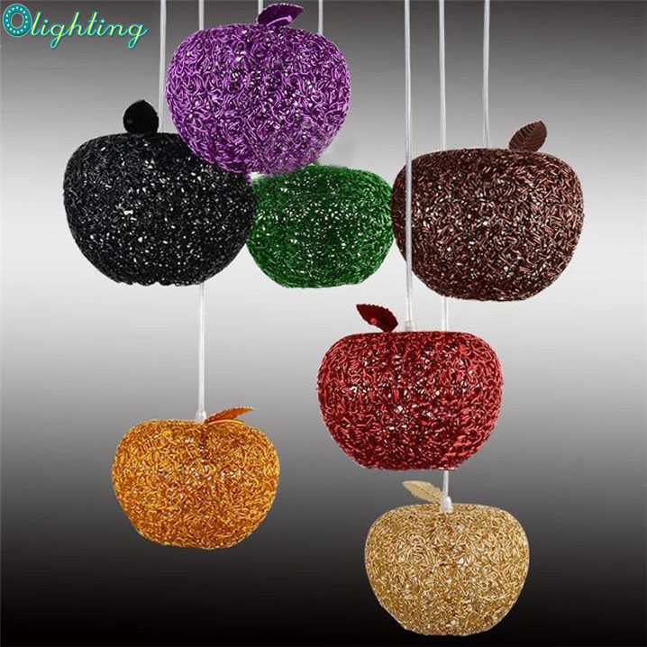 contemporary multi color aluminum apple pendant lamp LED G4 home lights for living room dining foyer home decor christmas<br>