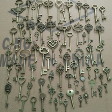 1lot=69pcs=9.9$ Wholesale Vintage Keys Creative Fashion Accessories Metal Key 69 mix DIY 9.9 Dollar Free Shipping(China)